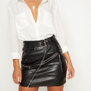 NWT PLT Black Faux Leather Biker Belted Mini Skirt